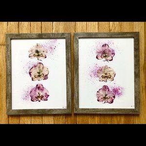 Ikebana on watercolor Orchids Art Framed